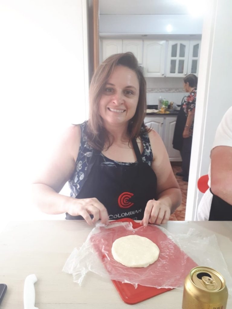 making the arepas
